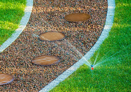 Backyard Lawn Automatic Sprinkler. Backyard Watering.